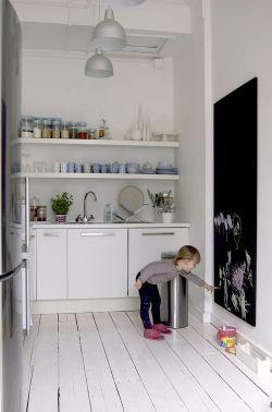 Inspiración para una pequeña cocina blanca