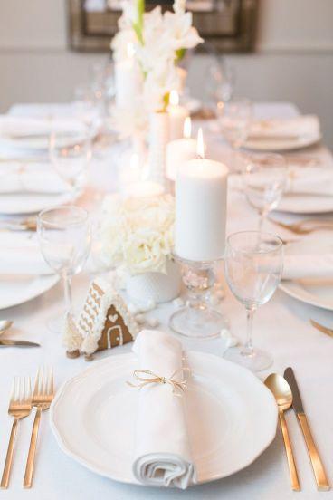 Decoración invernal para mesa de Navidad