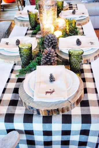 Decoración campestre para mesa de Navidad