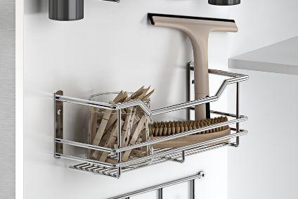 Estante de rejilla para puerta del armario bajo fregadero