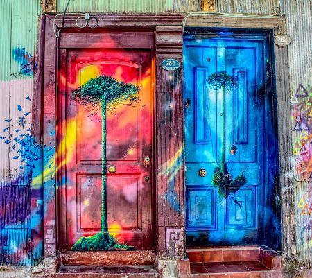dos puertas bonitas con decorado de puertas