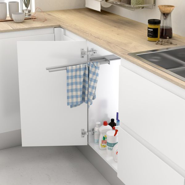 Soporte extraíble de aluminio para paños y toallas