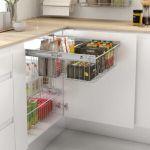 cesto extraíble para armario de cocina moderna