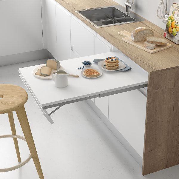 Herraje de mesa extraíble con frente abatible para cajón
