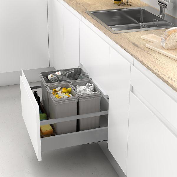 Cubos de reciclaje para cajón con tapa automática