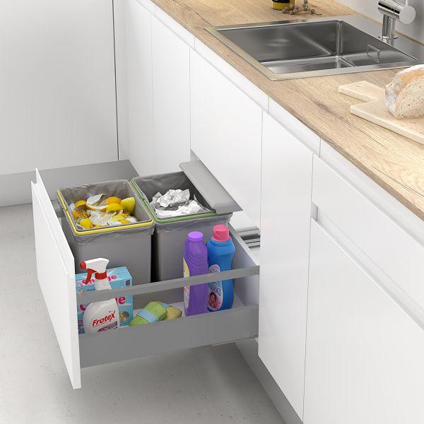 Cubos de basura y reciclaje con tapa automática para cajón de cocina