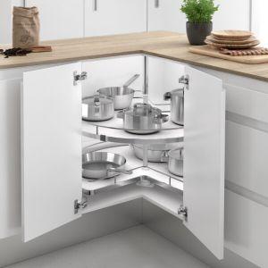 Bandeja giratoria con bases de melamina blnca para armario rinconero de cocina ordenada y funcional