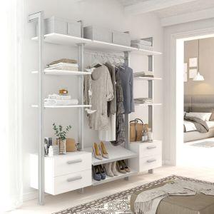 Estantería modular cajonera de 3 cuerpos para vestidor plata y blanco