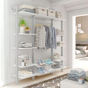 Estantería modular de 3 cuerpos para vestidor plata y blanco