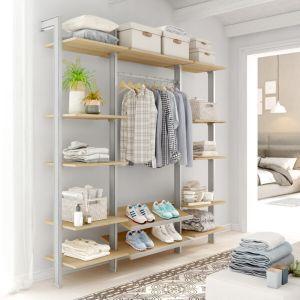 Estantería modular de 3 cuerpos para vestidor plata y lisa oak