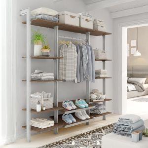 Estantería modular de 3 cuerpos para vestidor plata y roble tricio