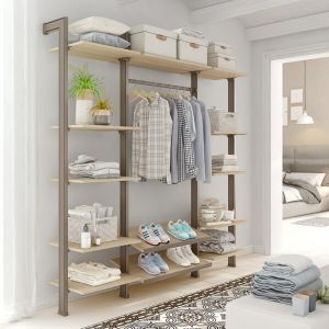 Estantería modular de 3 cuerpos para vestidor bronce y lisa oak