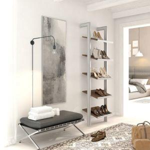 Estantería modular de 1 cuerpo para zapatos plata y roble tricio