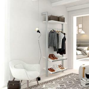 Estantería modular de 1 cuerpo para vestidor plata y blanco