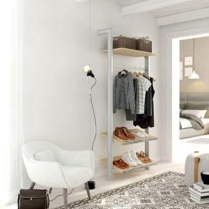 Estantería modular de 1 cuerpo para vestidor plata y lisa oak