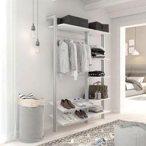 Estantería modular de 2 cuerpos para vestidor plata y blanco