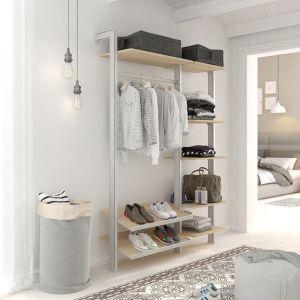 Estantería modular de 2 cuerpos para vestidor plata y lisa oak