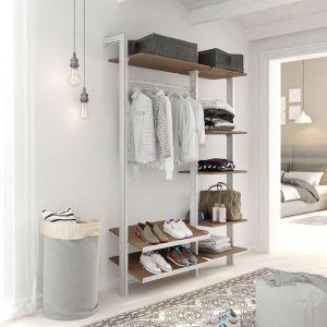 Estantería modular de 2 cuerpos para vestidor plata y roble tricio