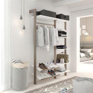 Estantería modular de 2 cuerpos para vestidor bronce y blanco