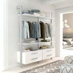 Estantería modular cajonera de 2 cuerpos para vestidor plata y blanco