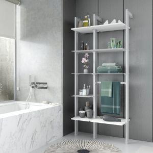 Estantería modular de 2 cuerpos para baño plata y blanco