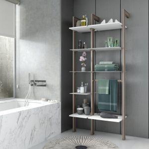 Estantería modular de 2 cuerpos para baño bronce y blanco