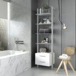 Estantería modular cajonera de 1 cuerpo para baño plata y blanco