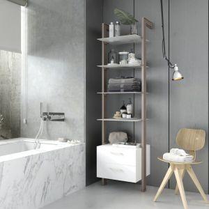 Estantería modular cajonera de 1 cuerpo para baño bronce y blanco