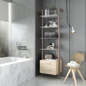 Estantería modular cajonera de 1 cuerpo para baño bronce y lisa oak