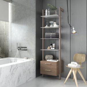 Estantería modular cajonera de 1 cuerpo para baño bronce y roble tricio