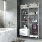 Estantería modular cajonera de 2 cuerpos para baño plata y blanco