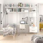 Estantería modular cajonera de 3 cuerpos para dormitorio plata y blanco