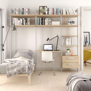 Estantería modular cajonera de 3 cuerpos para dormitorio plata y lisa oak