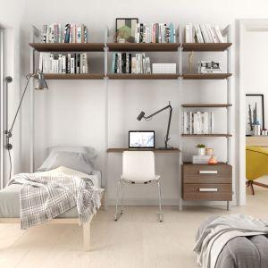 Estantería modular cajonera de 3 cuerpos para dormitorio plata y roble tricio