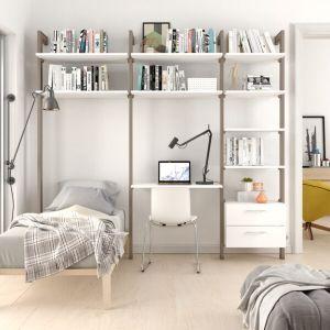 Estantería modular cajonera de 3 cuerpos para dormitorio bronce y blanco