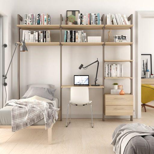 Estantería modular cajonera de 3 cuerpos para dormitorio bronce y lisa oak