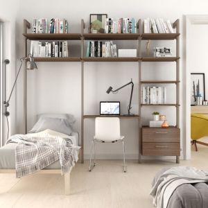 Estantería modular cajonera de 3 cuerpos para dormitorio bronce y roble tricio