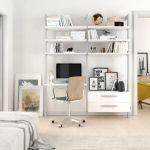 Estantería modular cajonera de 2 cuerpos para dormitorio plata y blanco