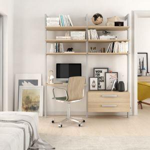Estantería modular cajonera de 2 cuerpos para dormitorio plata y lisa oak