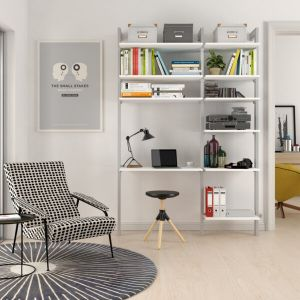 Estantería modular de 2 cuerpos para dormitorio plata y blanco