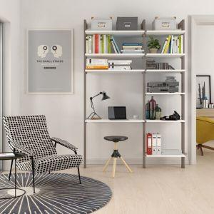 Estantería modular de 2 cuerpos para dormitorio bronce y blanco