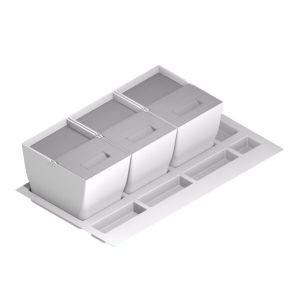 Cubos de basura y reciclaje para cajón con tapa inox