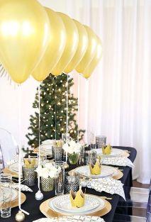 Decoración de mesa para la cena de Nochevieja