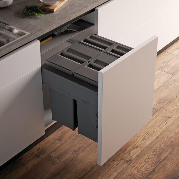 Cubo con 4 contenedores para instalar dentro de un cajón de cocina para reciclar