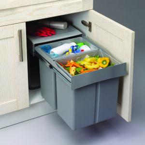 Sistema con dos cubos extraíble de 30L para reciclar