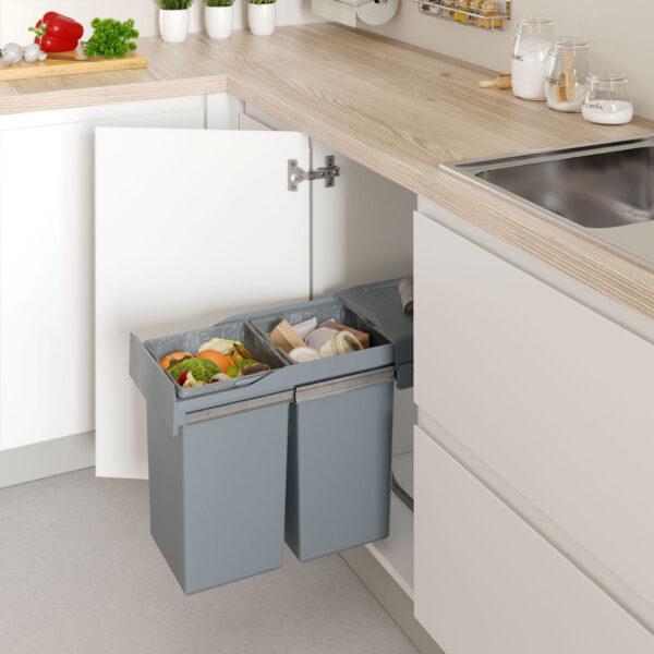 cubo extraíble para armario de cocina con el cual puedes reciclar