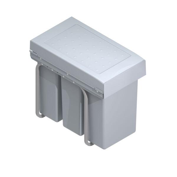 Cubo basura ecológico para frontales de más de 300mm con 3 cubos de 10 litros