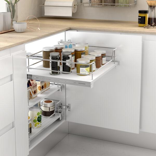 Cesto extraíble con base de melamina para guardar cosas de manera ordenada en una cocina optimizada