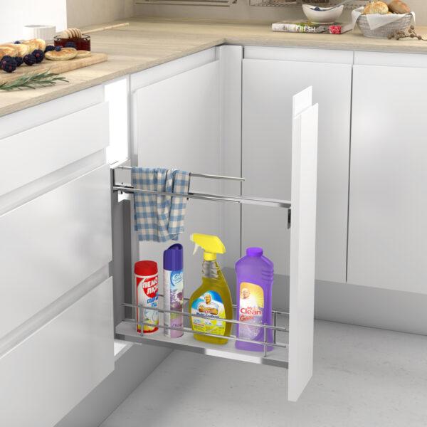 Módulo extraíble para almacenar productos de limpieza de manera ordenada en una cocinas moderna