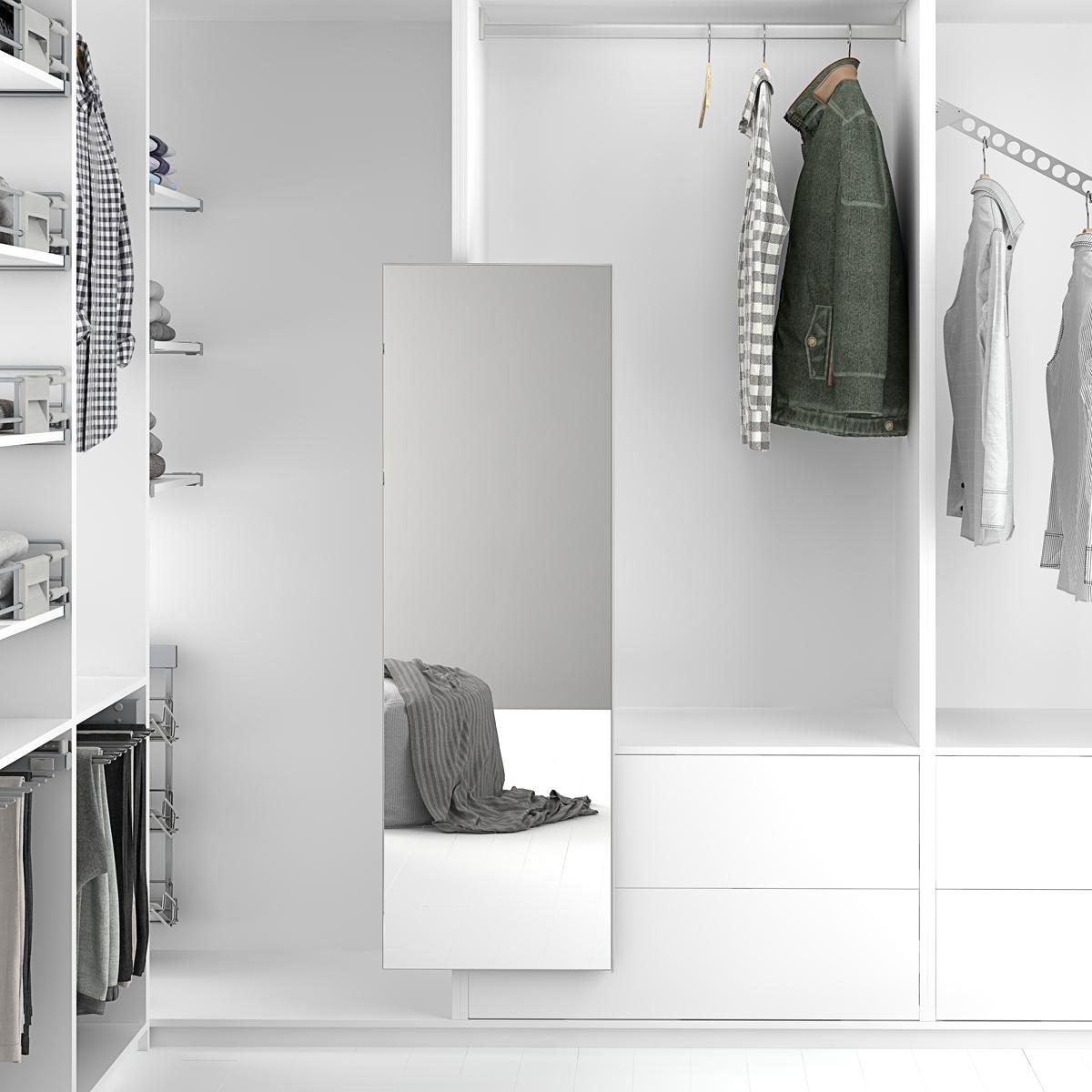 Espejo extraíble y giratorio para vestidor